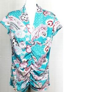 🍄Bisou Bisou Maternity Short Sleeve Paisley Shirt
